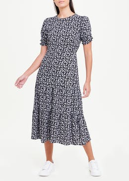 Black Short Sleeve Floral Tiered Midi Dress