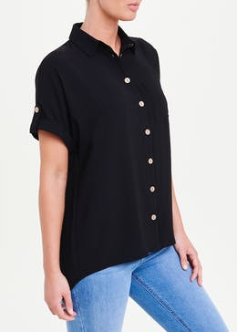 Black Short Sleeve Wooden Button Shirt