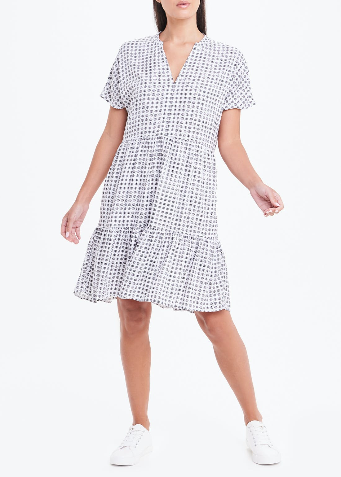 Short Sleeve Printed Tiered Dress