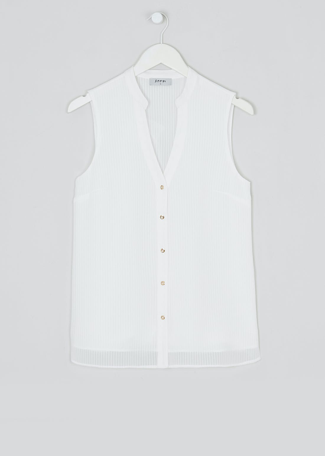 Soon Cream Sleeveless Stripe Shirt