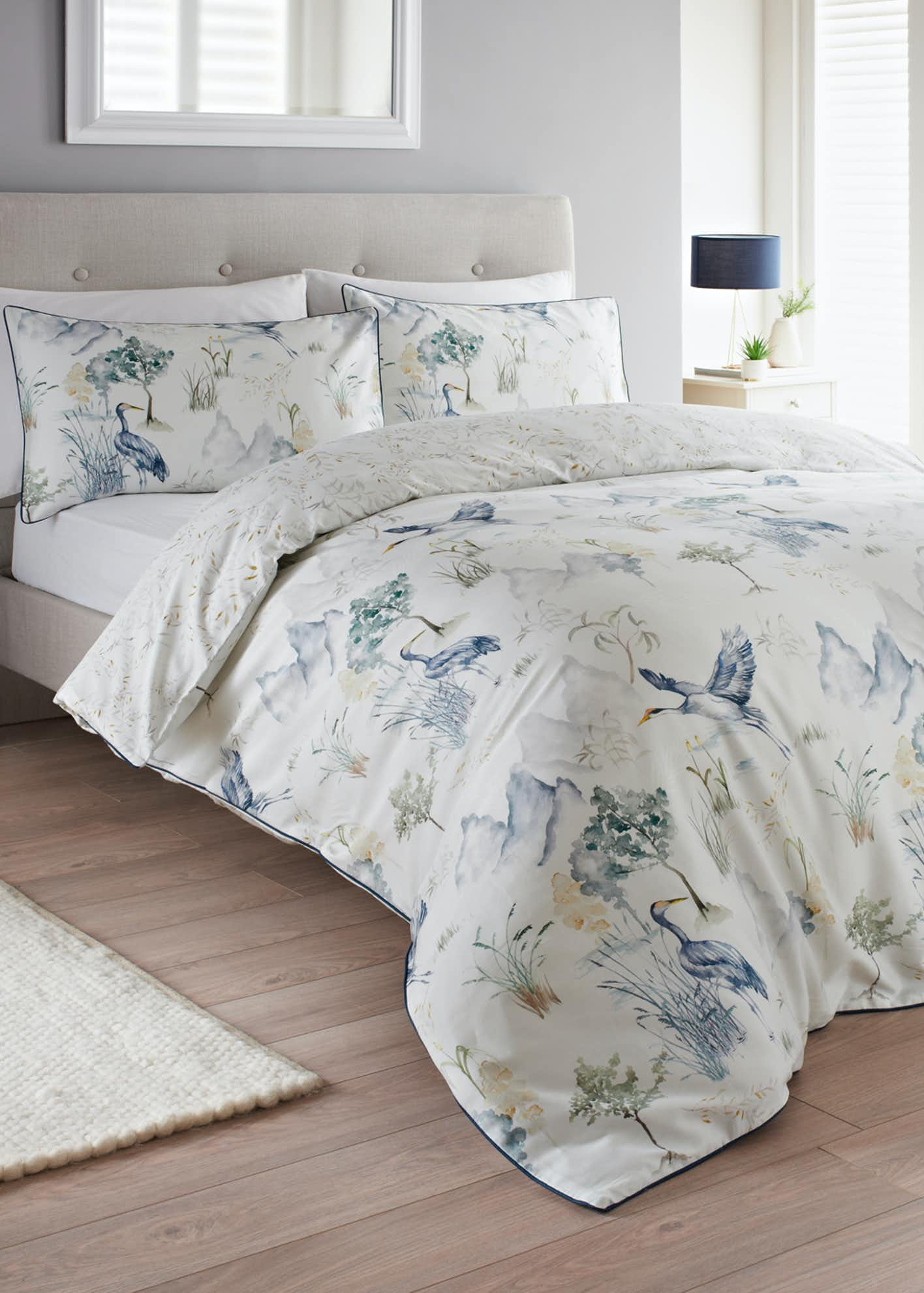 Reversible Watercolour Crane Print Duvet Cover
