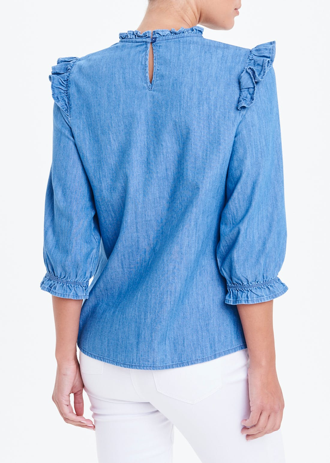 3/4 Sleeve Denim Frill Front Blouse