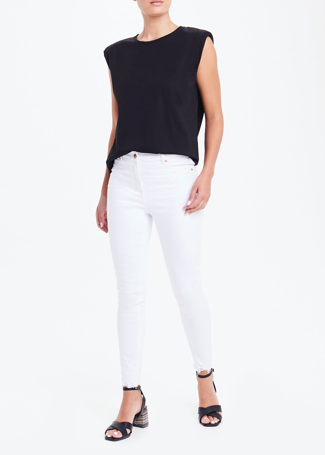 Sleeveless Shoulder Pad T-Shirt