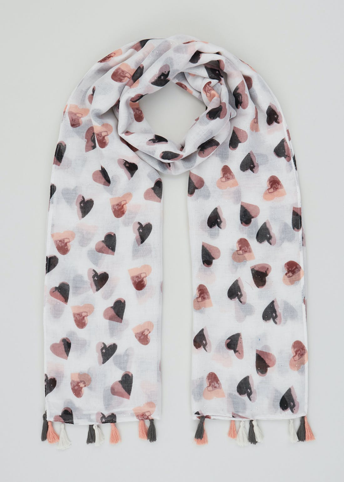Heart Print Woven Scarf