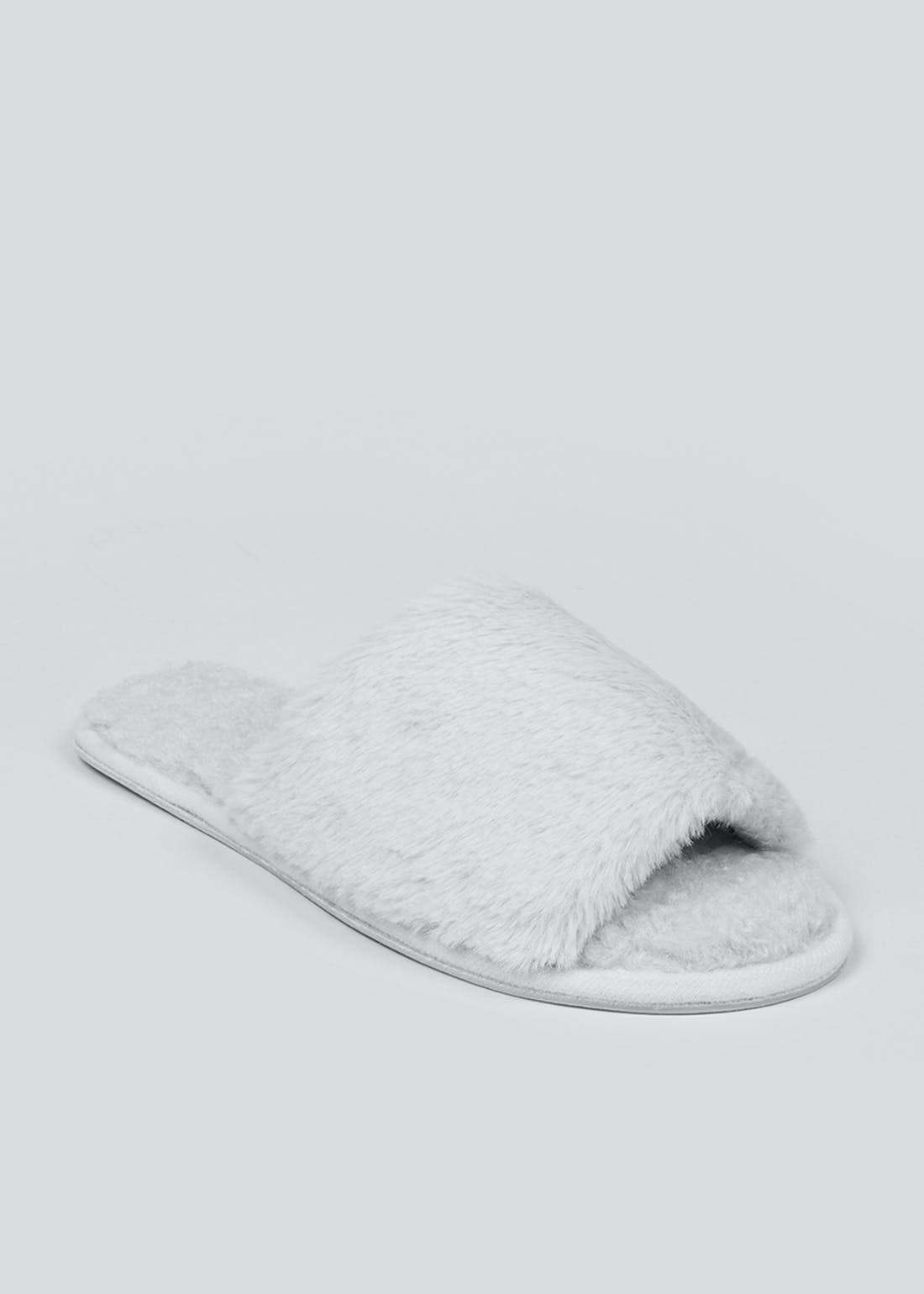 Grey Fluffy Slider Slippers