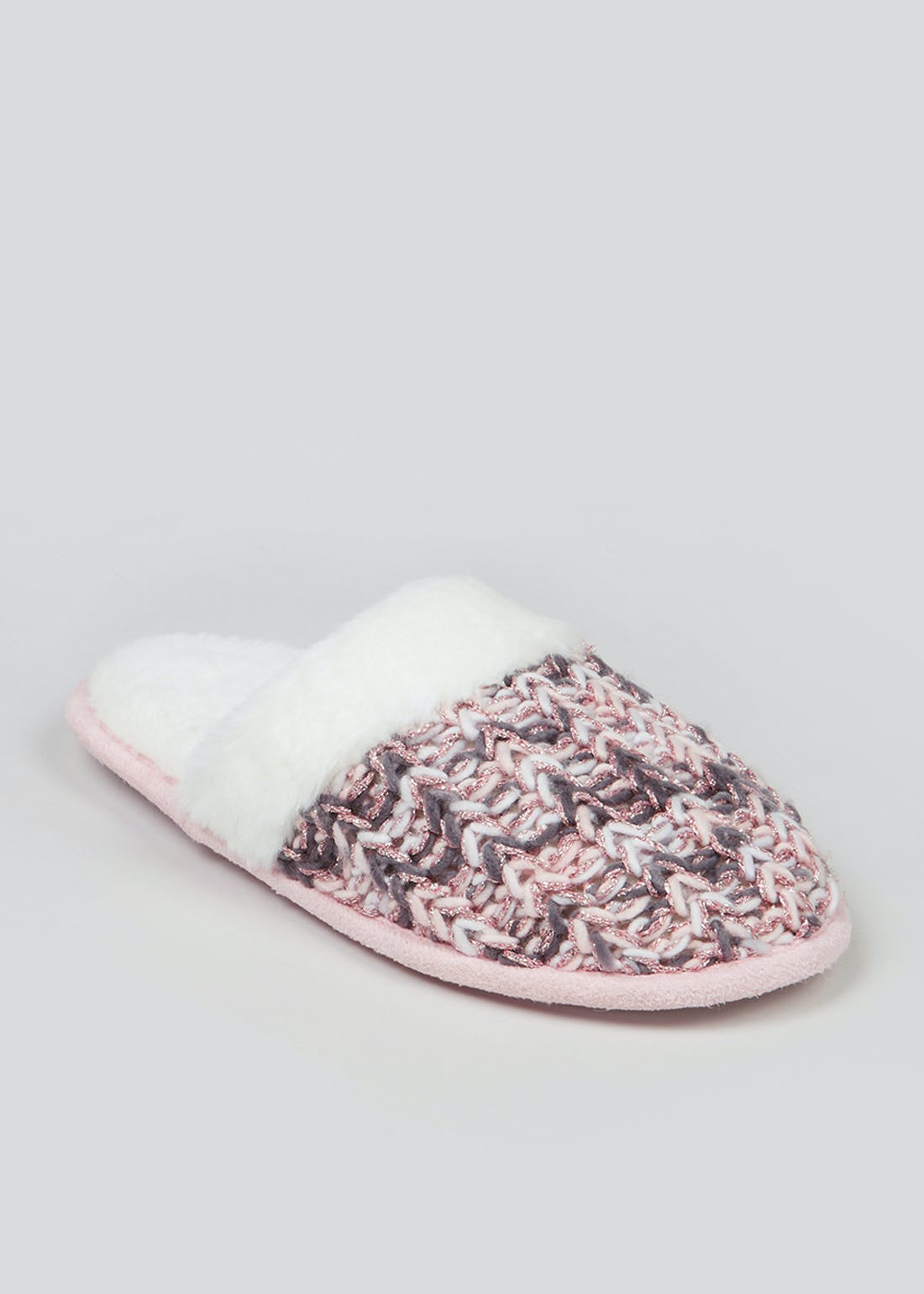 Pink Fluffy Knitted Mule Slippers