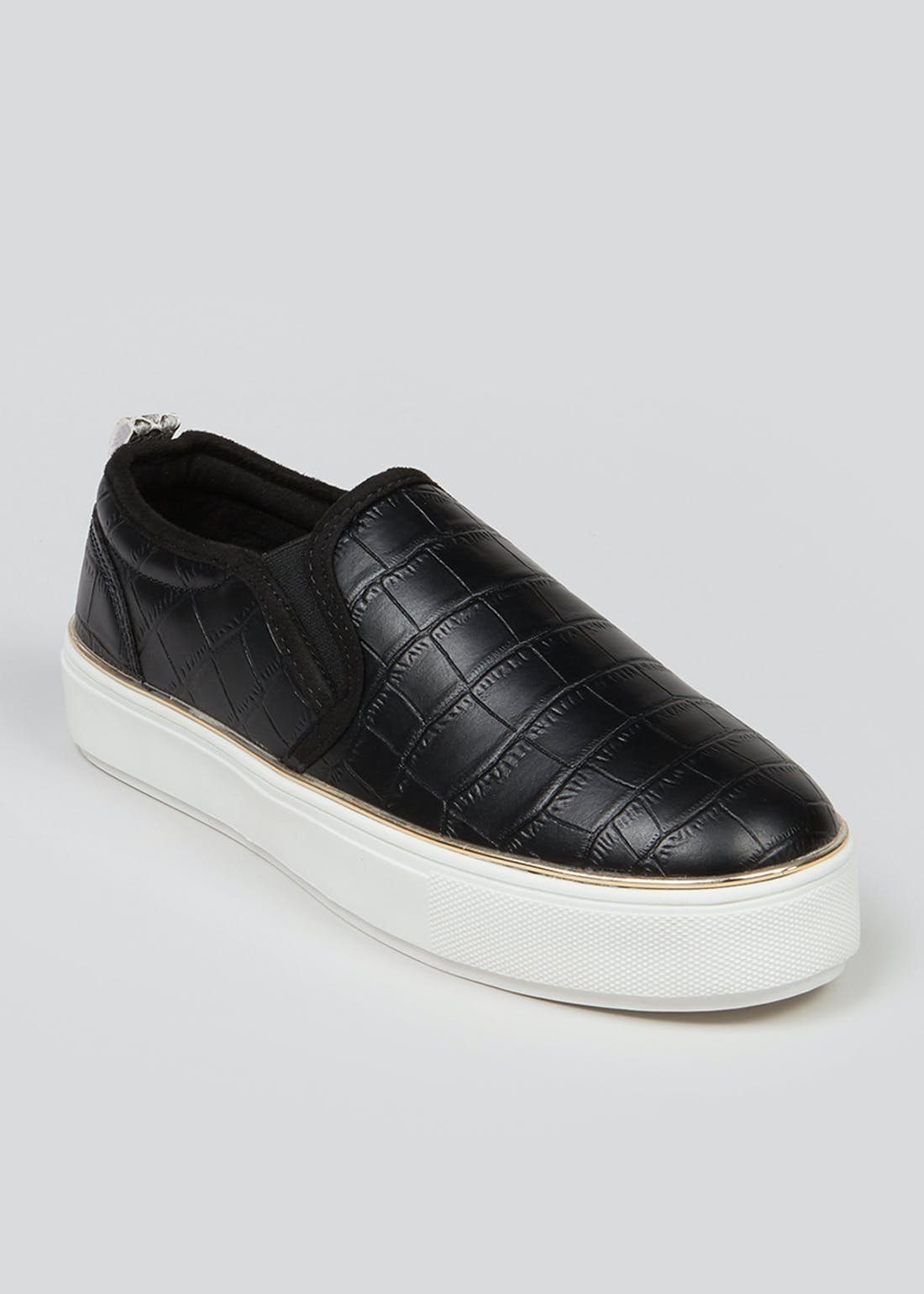 Black Faux Leather Slip On Trainers