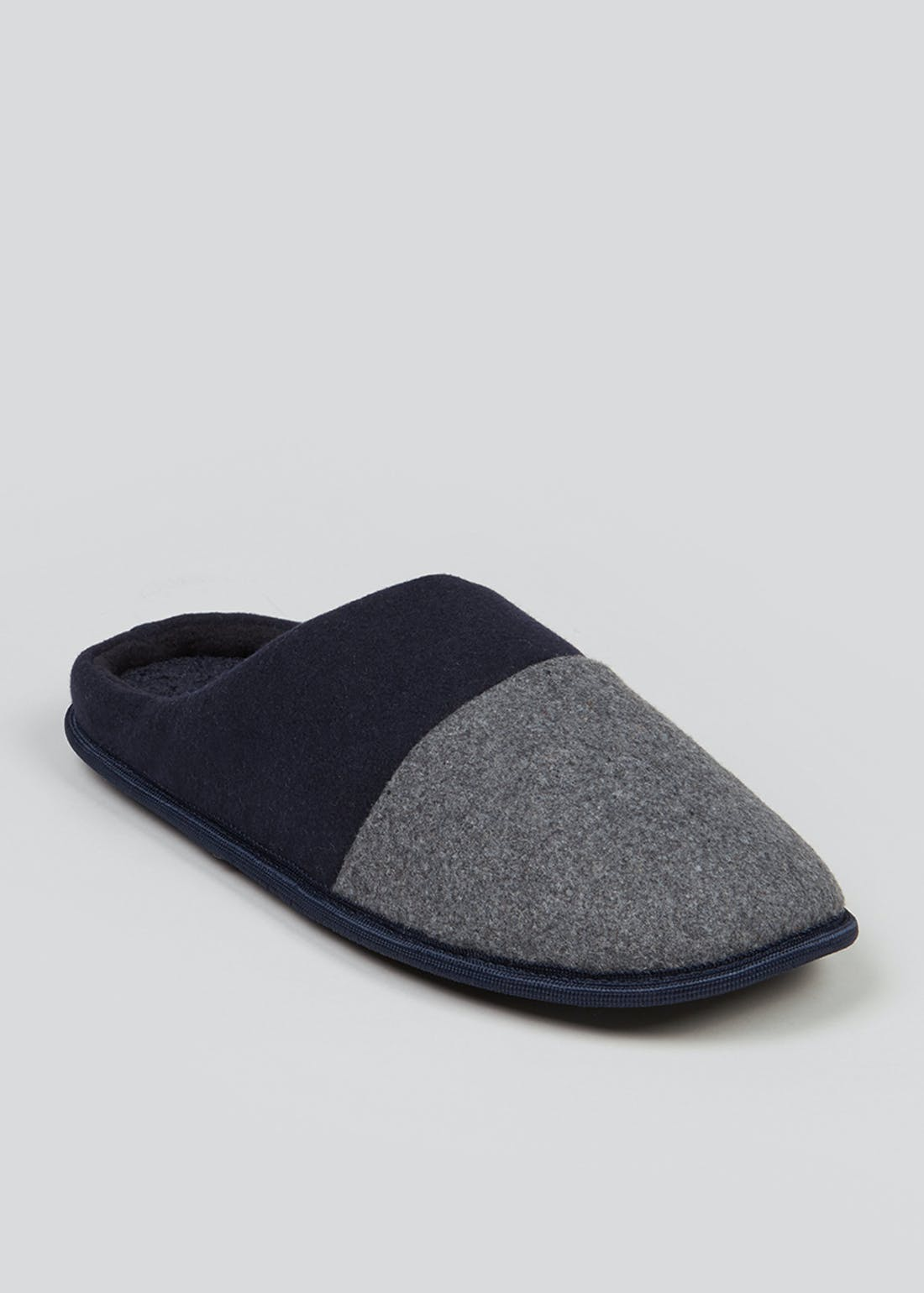 Navy & Grey Memory Foam Slippers