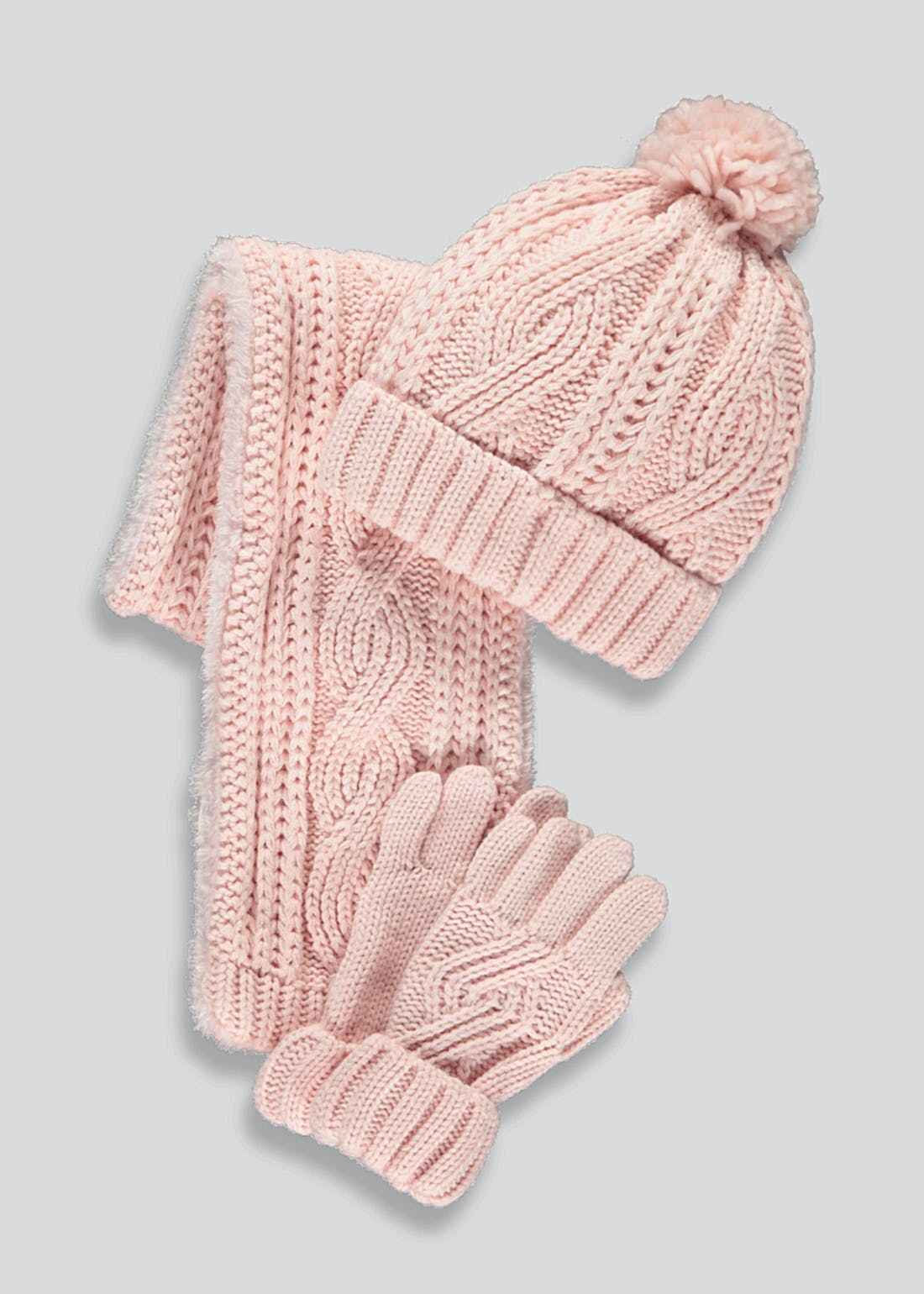 Girls Knitted Hat Scarf & Gloves Set (3-13yrs)