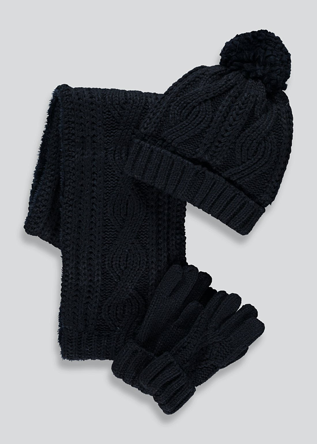 Boys Knitted Hat Scarf & Gloves Set (3-13yrs)