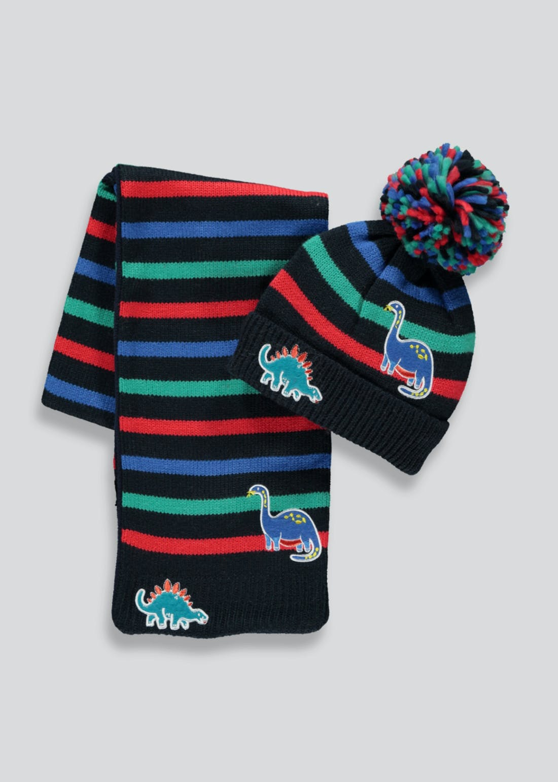 Boys Dinosaur Bobble Hat & Scarf Set (3-6yrs)