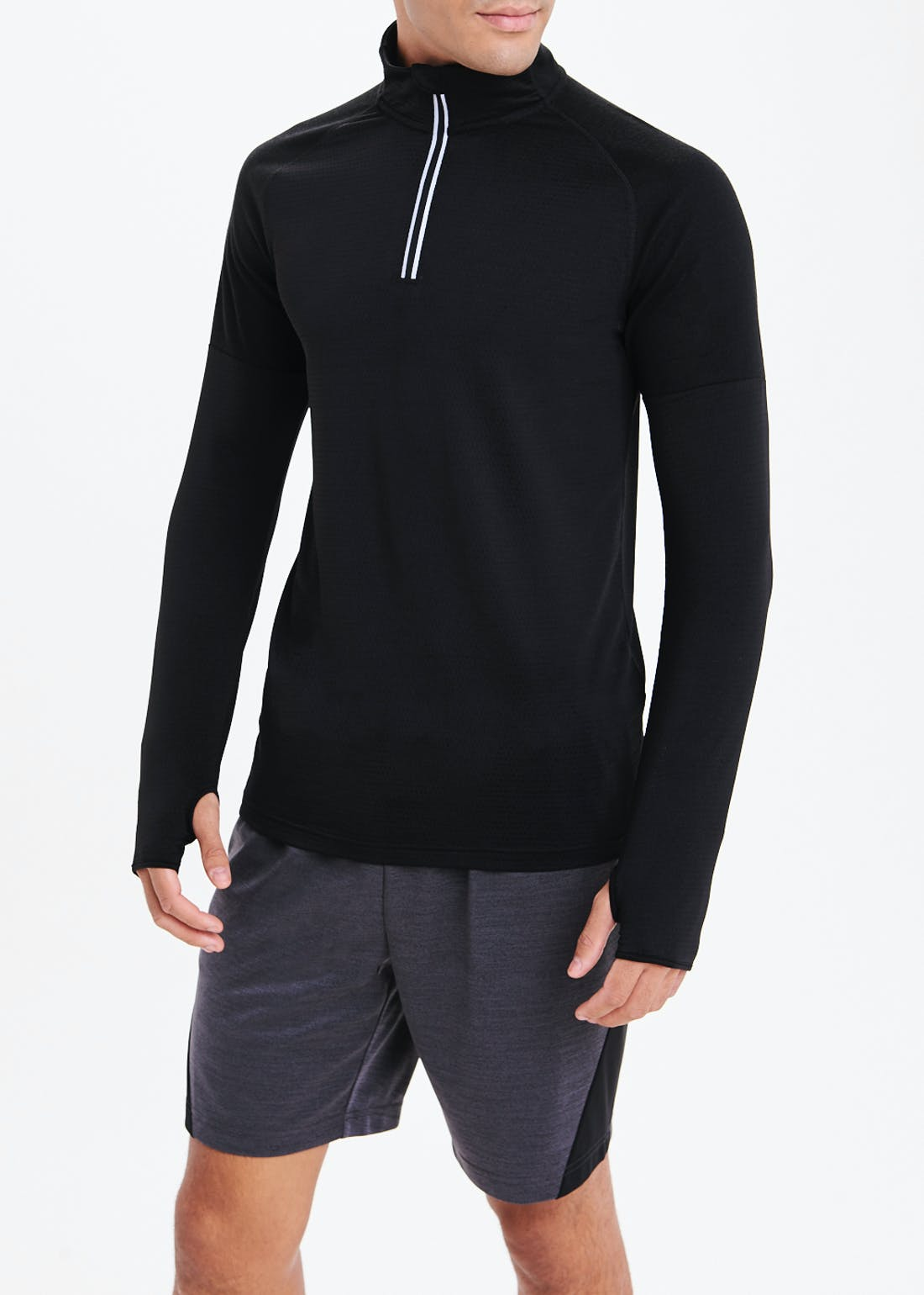 Souluxe Black Half Zip Sports Sweatshirt