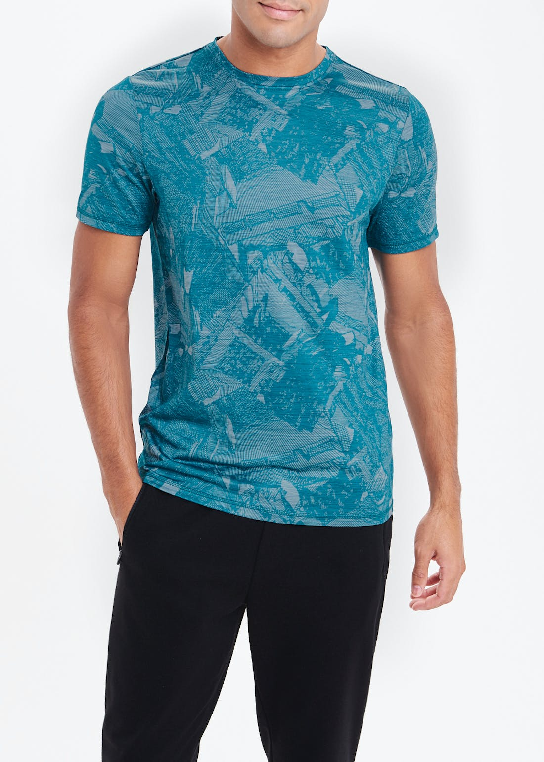 Souluxe Teal Printed Gym T-Shirt