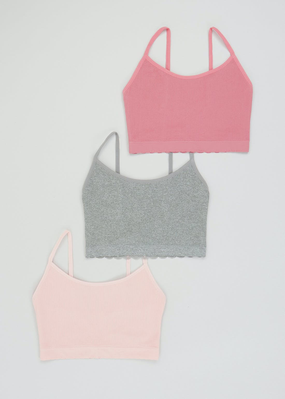 3 Pack Ribbed Lace Back Crop Tops