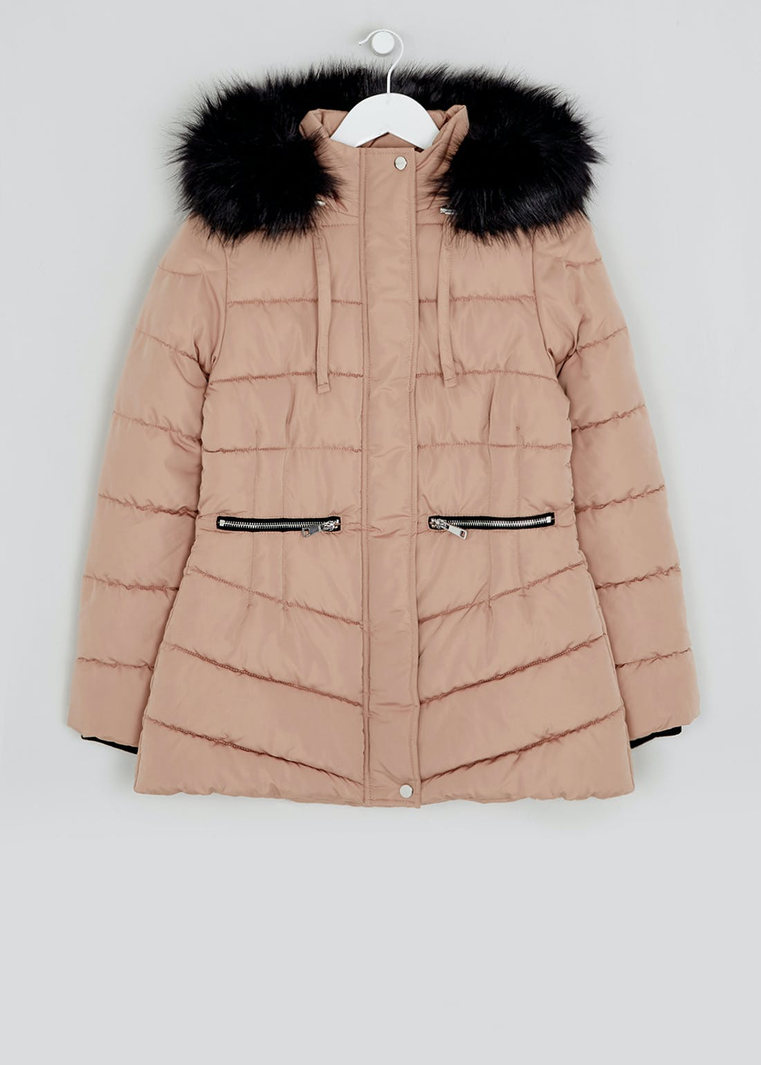 Camel Faux Fur Hood Padded Jacket