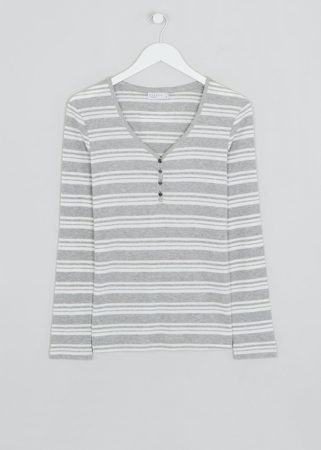 Long Sleeve Stripe Ribbed Henley Top