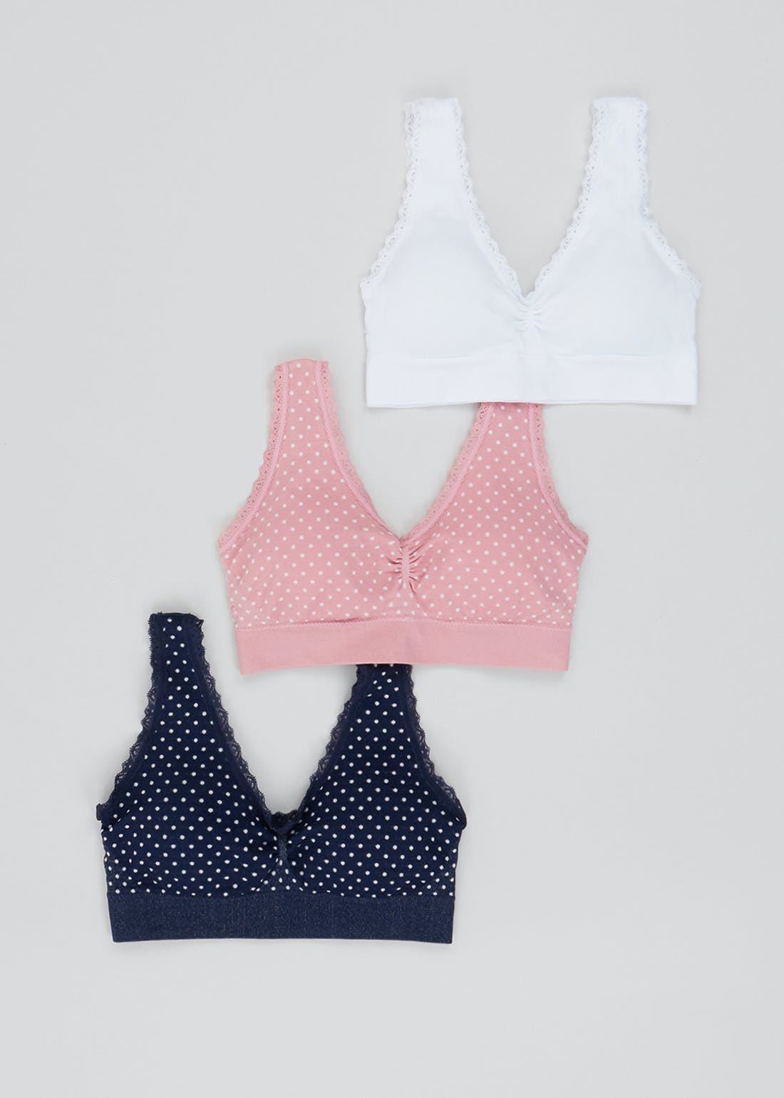 3 Pack Padded Lace Trim Crop Tops
