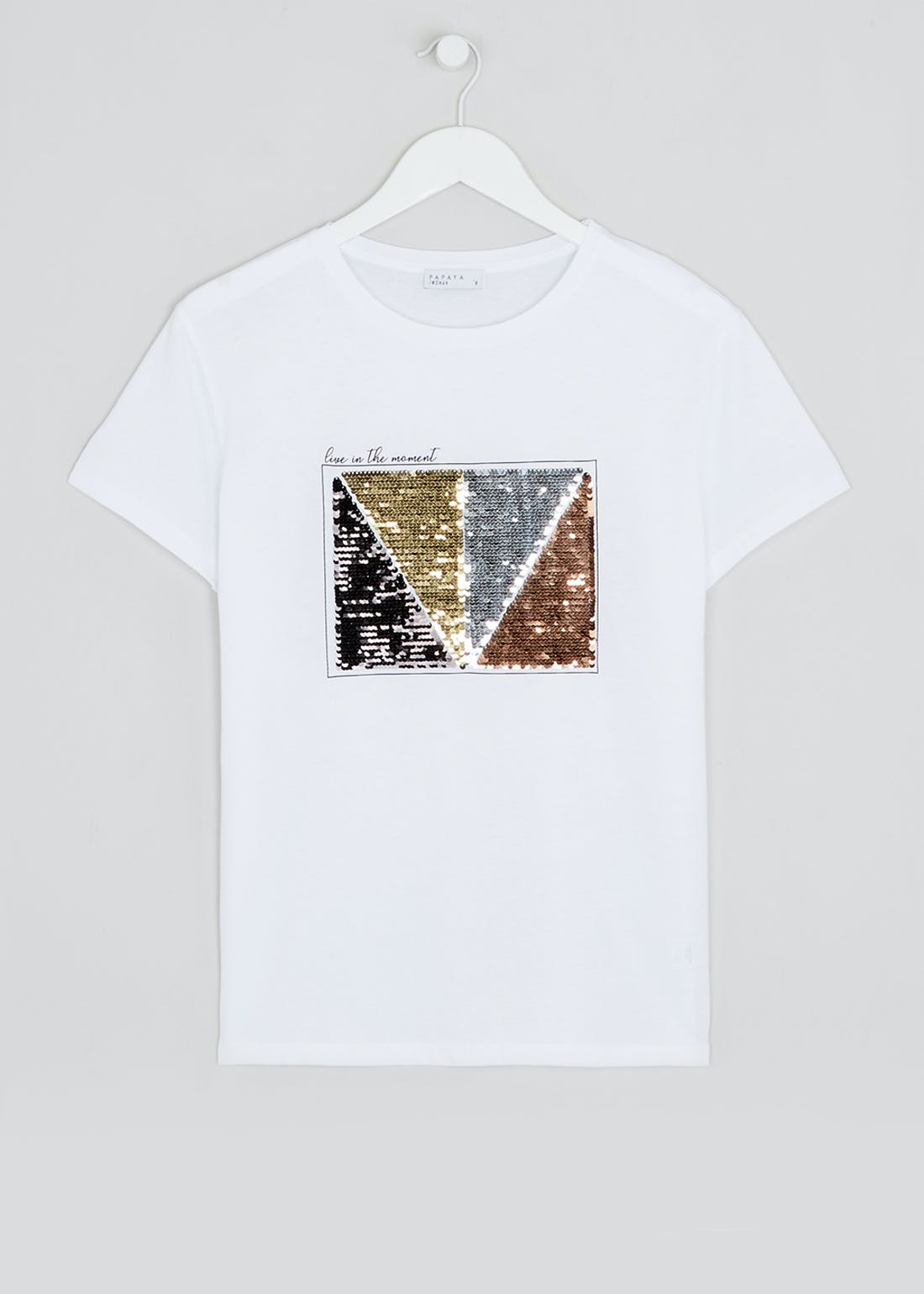 Sequin Panel Slogan T-Shirt