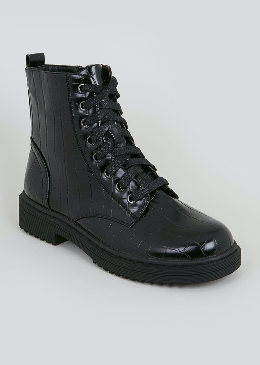 Black Patent Mock Croc Worker Boots