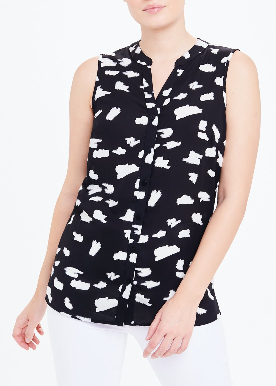 Black Sleeveless Smudge Print Blouse