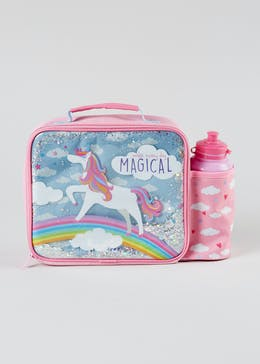 Kids Glitter Unicorn Lunch Bag & Water Bottle (30cm x 23cm x 9cm)
