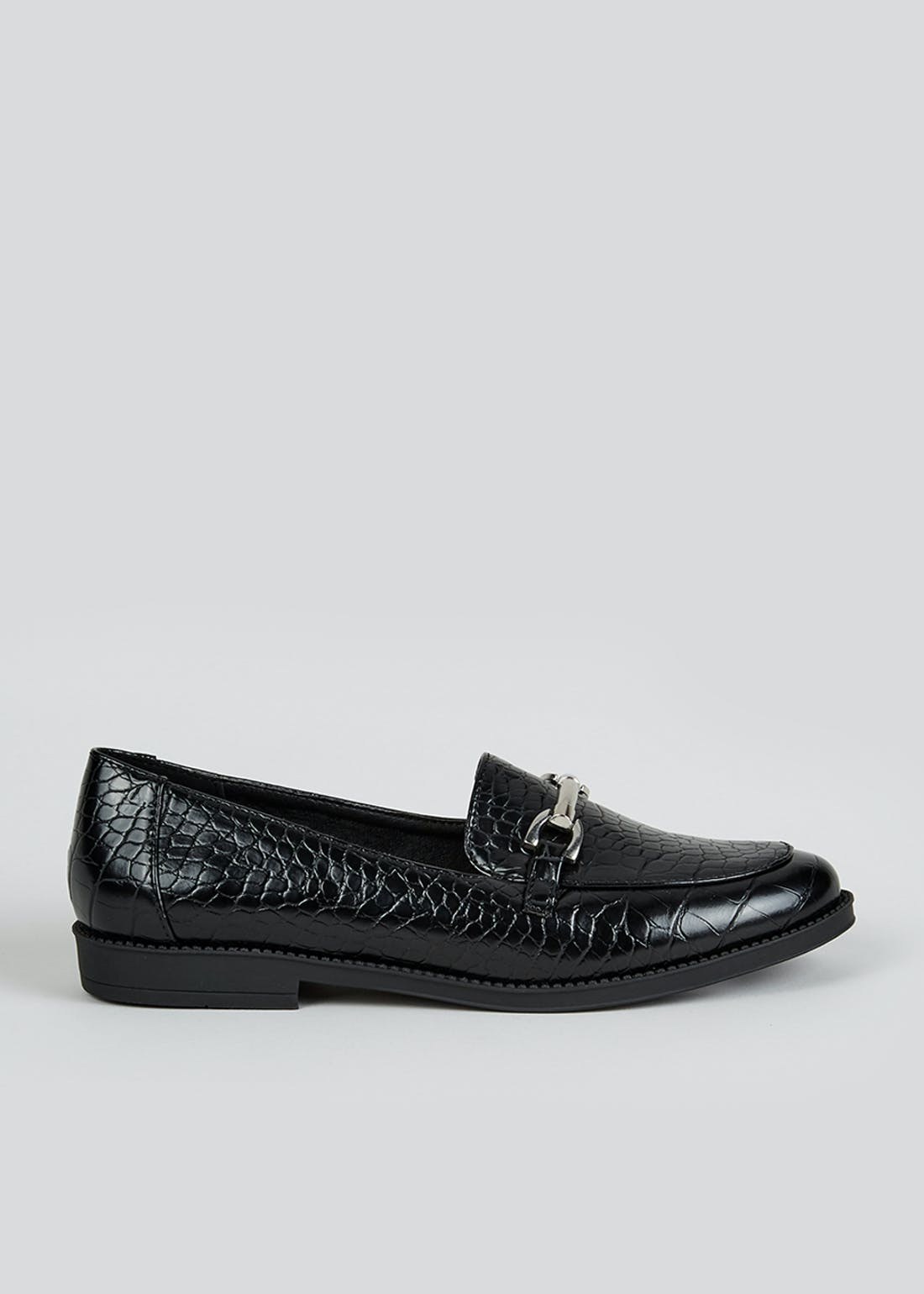 Black Mock Croc Snaffle Loafers