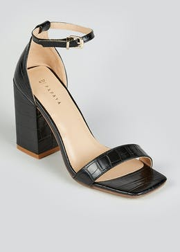 Black Block Heel Strappy Sandals