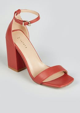Rust Block Heel Strappy Sandals