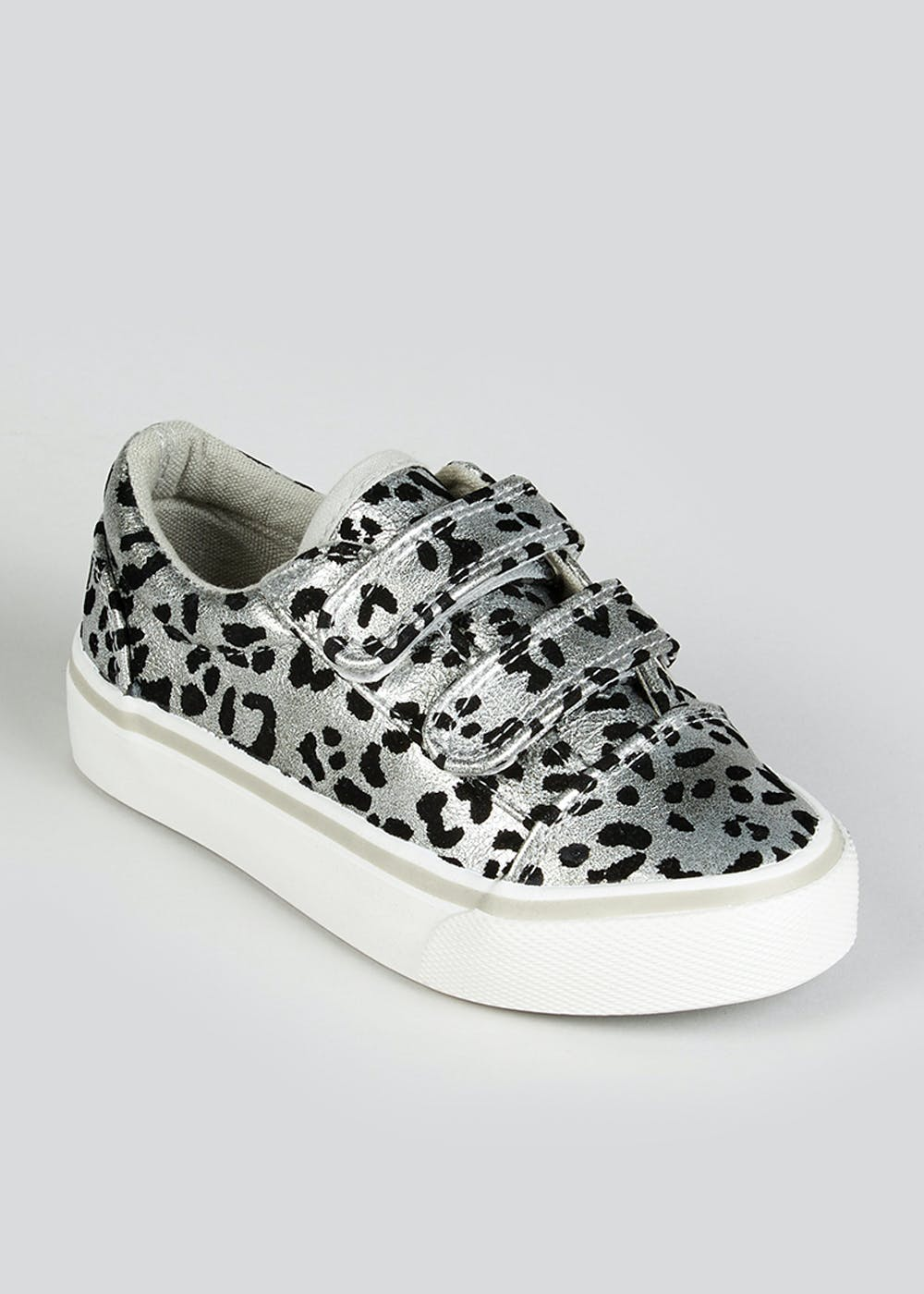 Girls Silver Leopard Print Trainers (Younger 4-12) – Silver