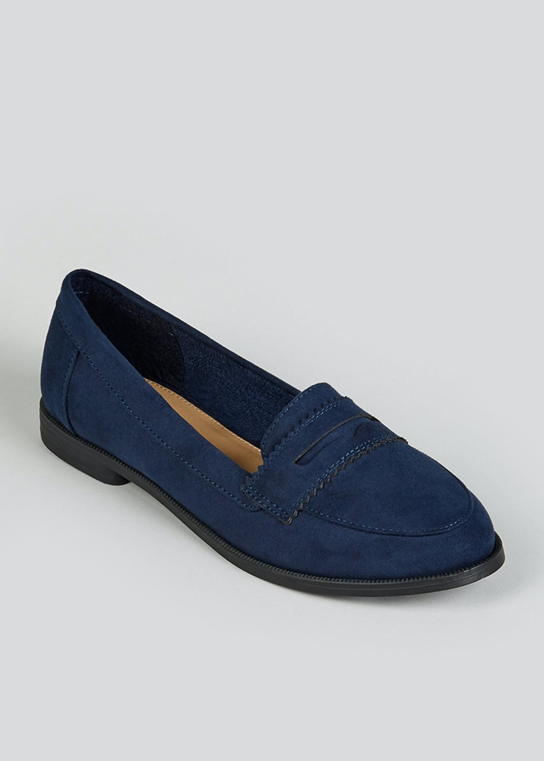 Navy Suedette Loafers