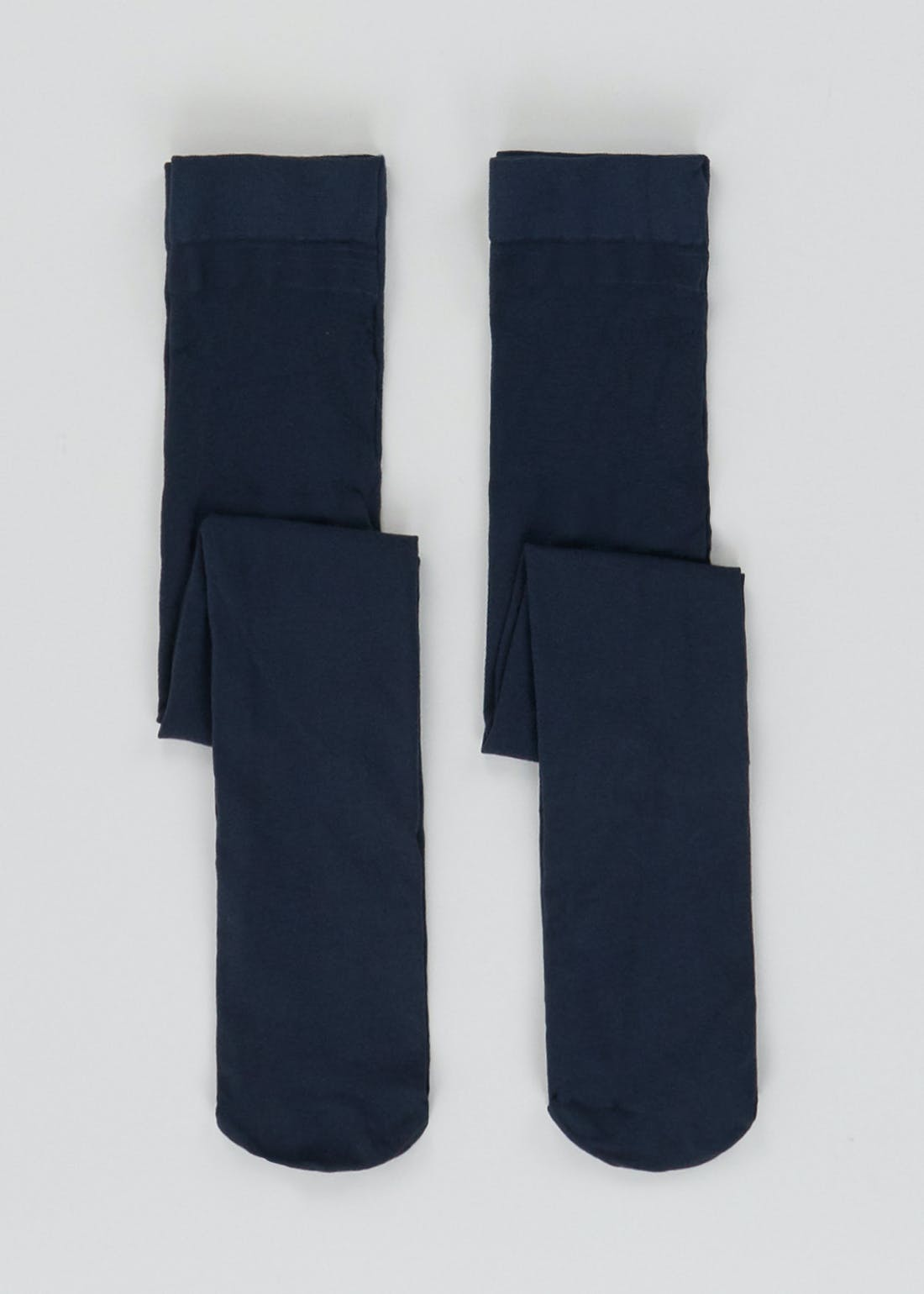 Girls 2 Pack 120 Denier Opaque Navy Tights (6-13yrs)