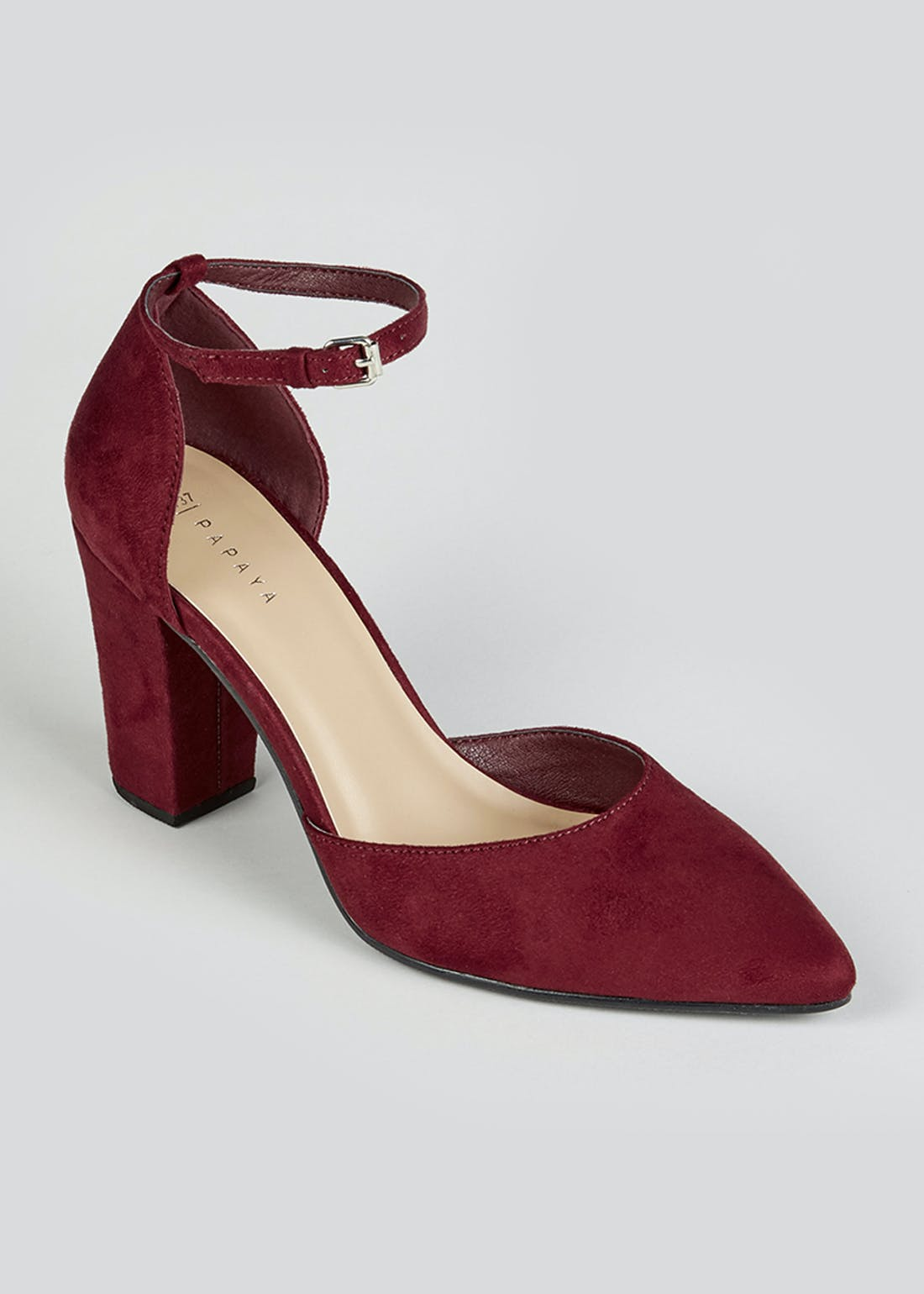 Burgundy Two Part Point Faux Suede Heels