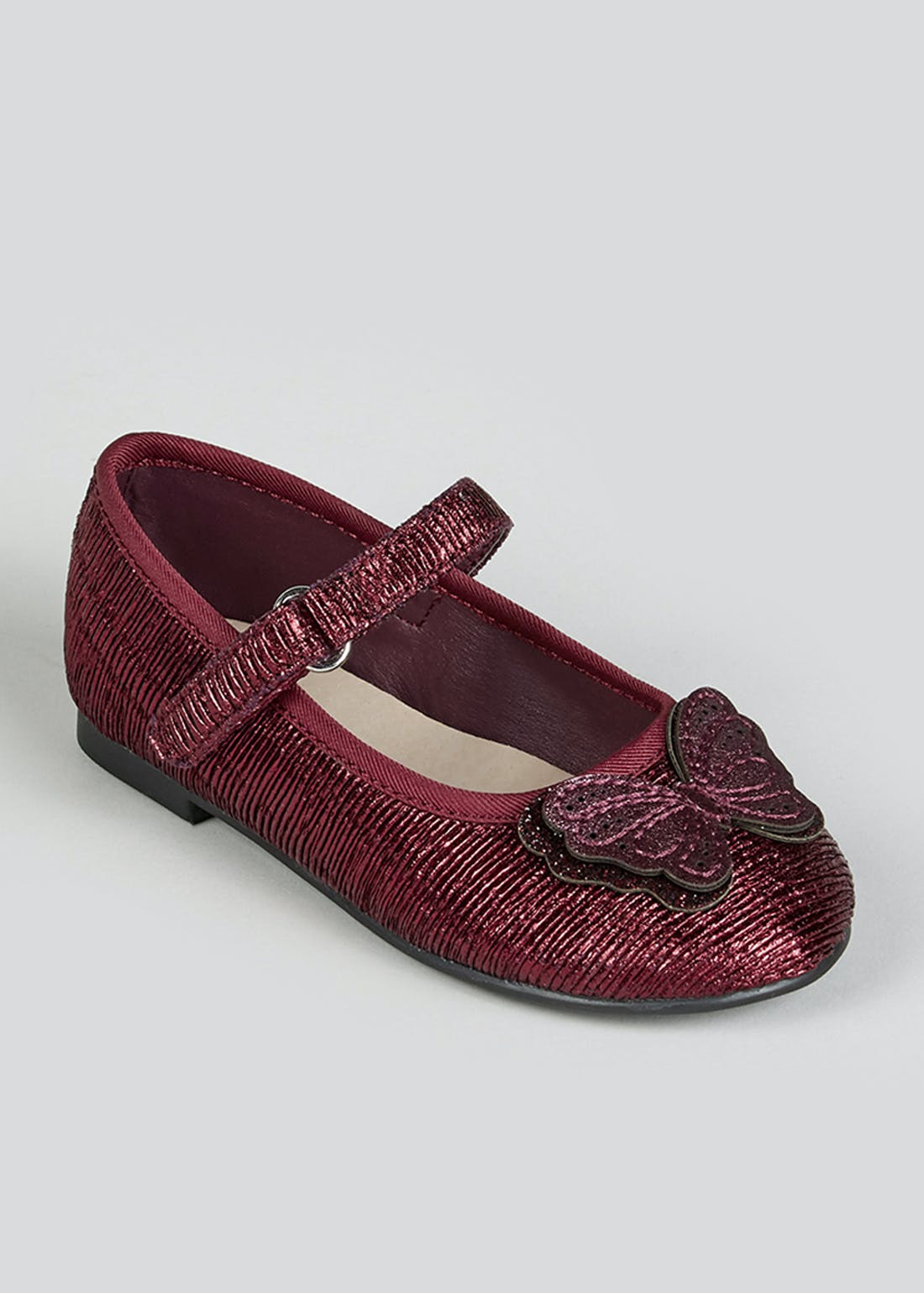 Girls Burgundy Patent Butterfly Ballet Shoes (Younger 4-12)