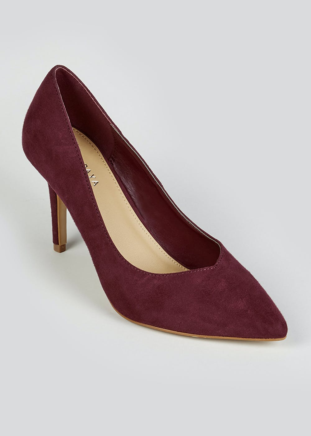 Burgundy Suedette Pointed Court Shoes