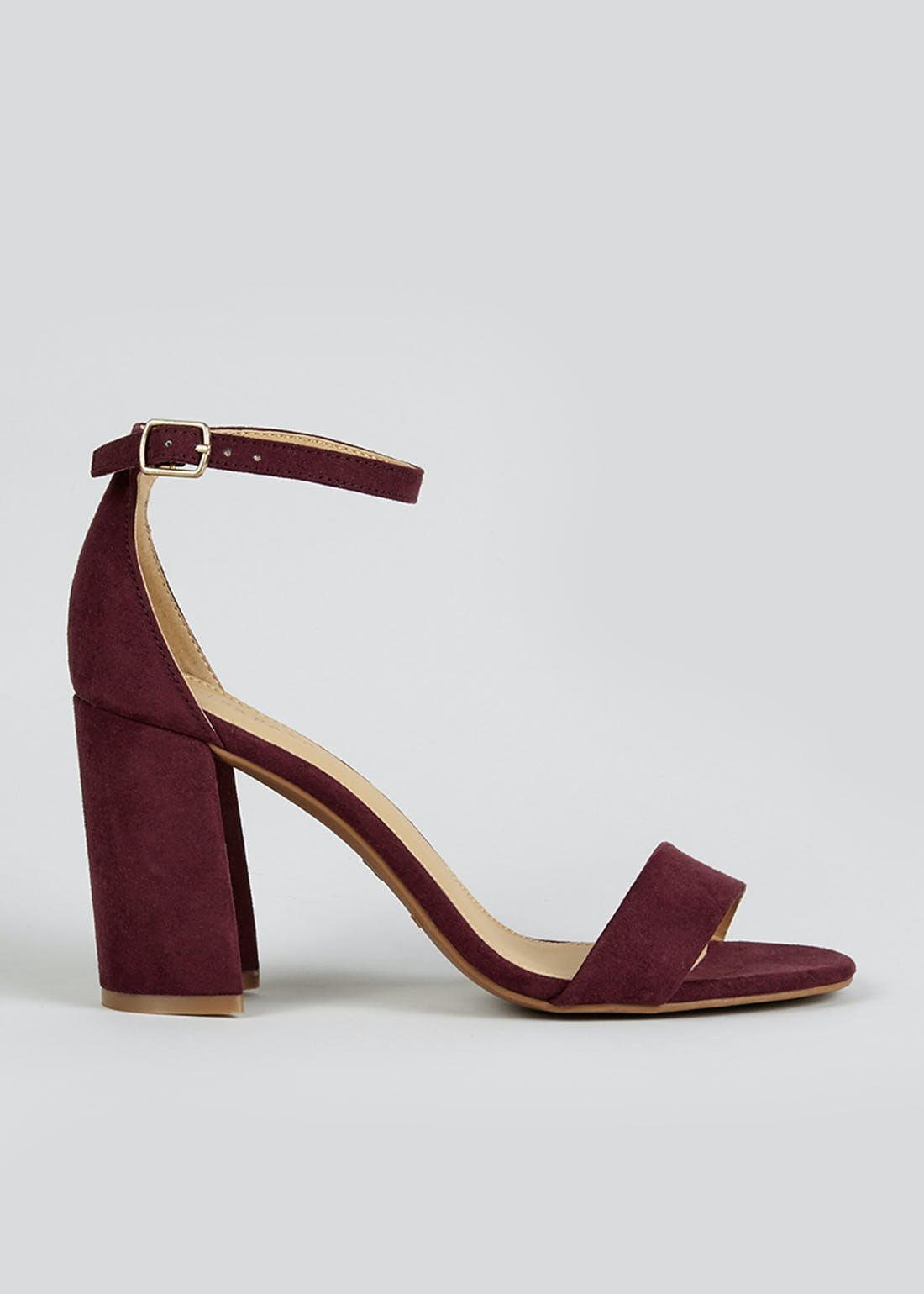 Burgundy Block Heel Sandals