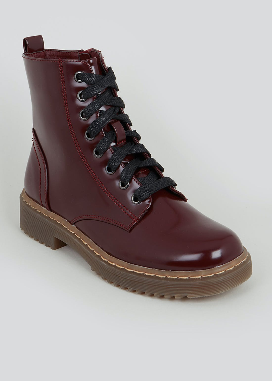 Burgundy Lace Up Worker Boots