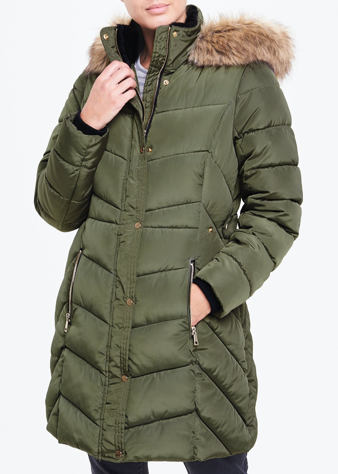 Khaki Faux Fur Hood Padded Coat