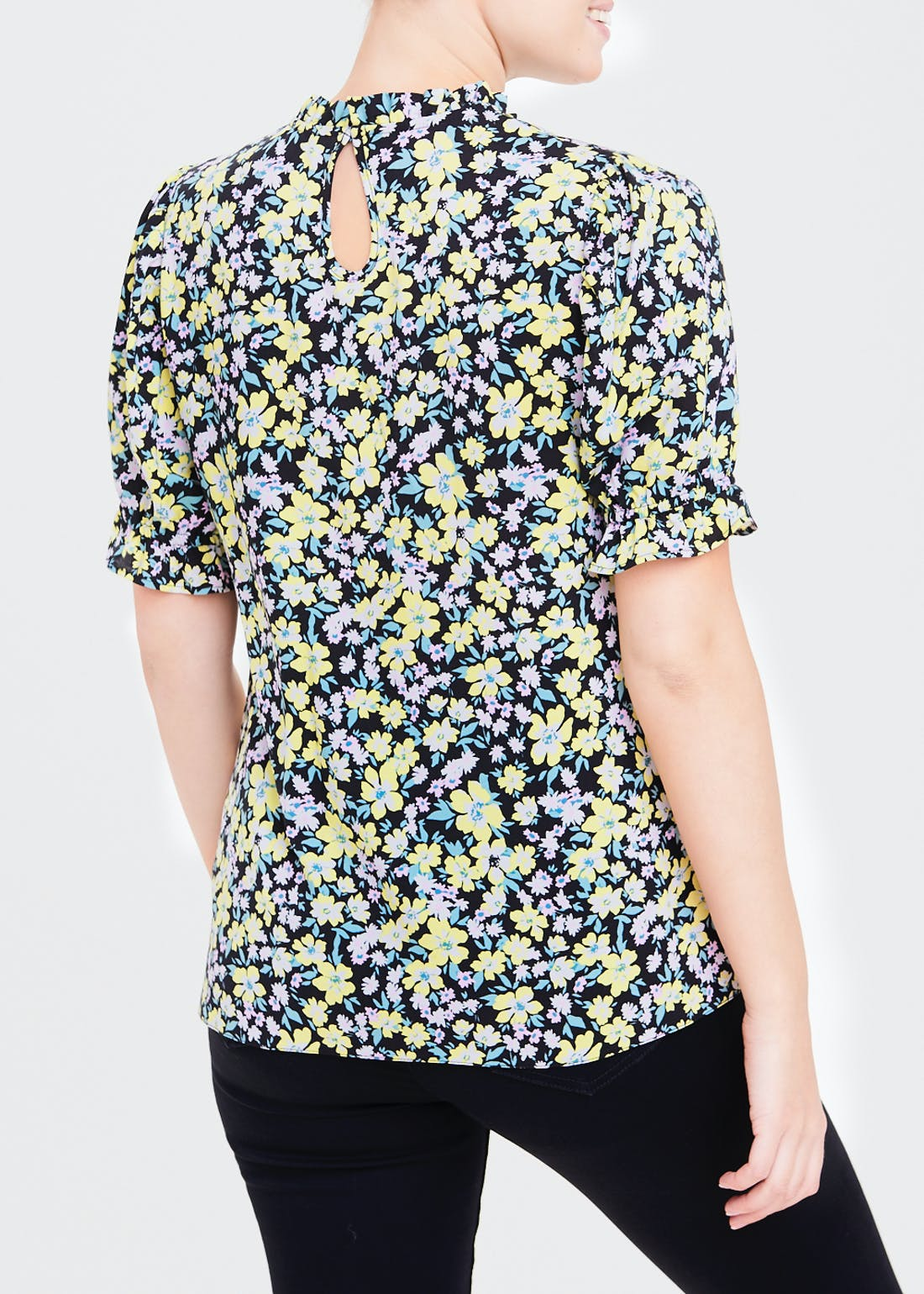 Puff Sleeve Floral Frill Neck Blouse