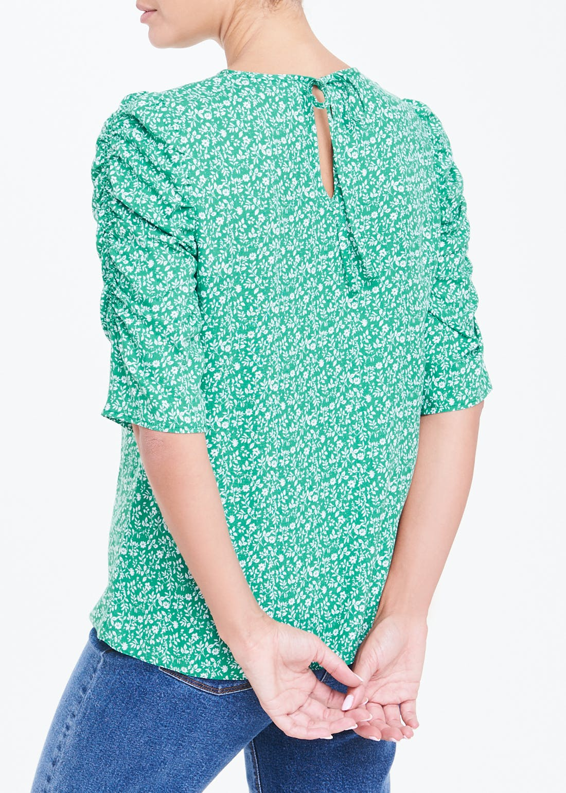 Ruched Short Sleeve Ditsy Floral Top