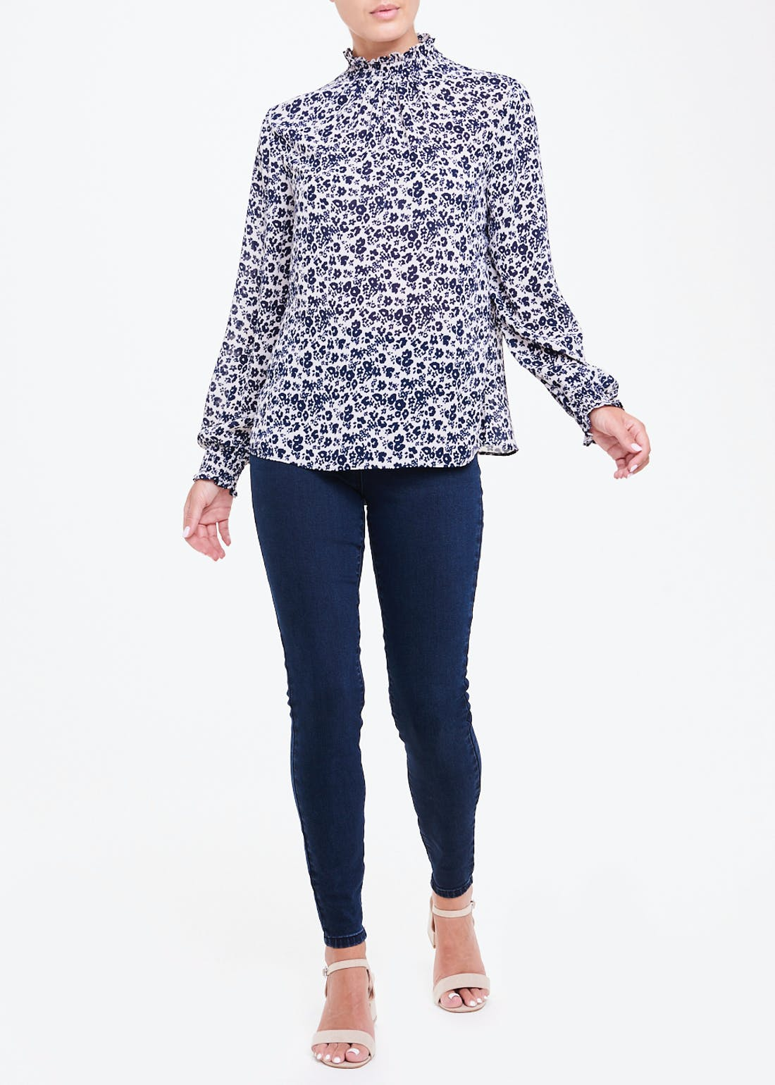 Navy Long Sleeve Floral High Neck Blouse