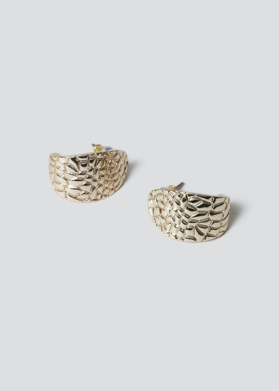 Croc Effect Stud Earrings