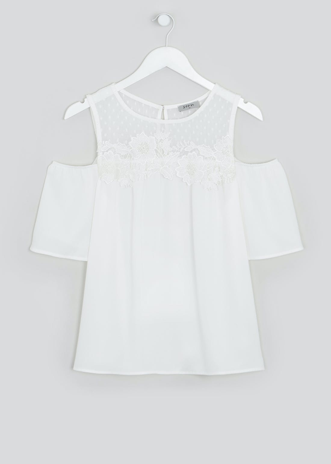Soon Cream Lace Cold Shoulder Blouse