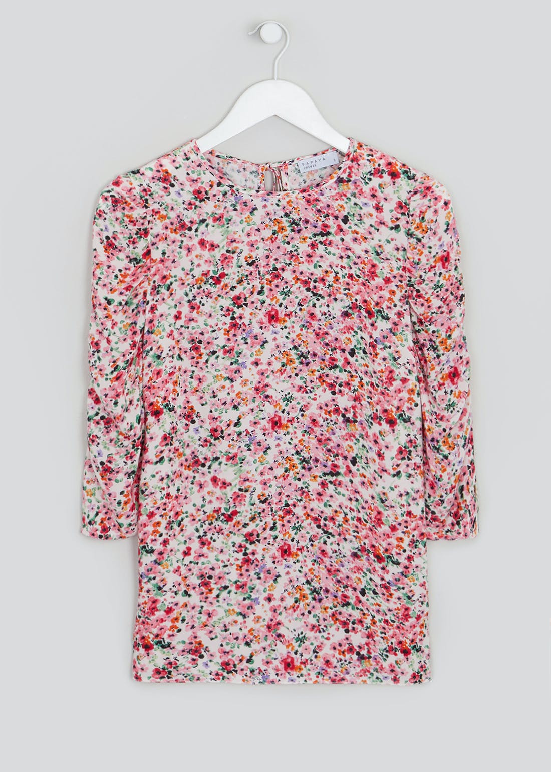 Ruched Short Sleeve Floral Top