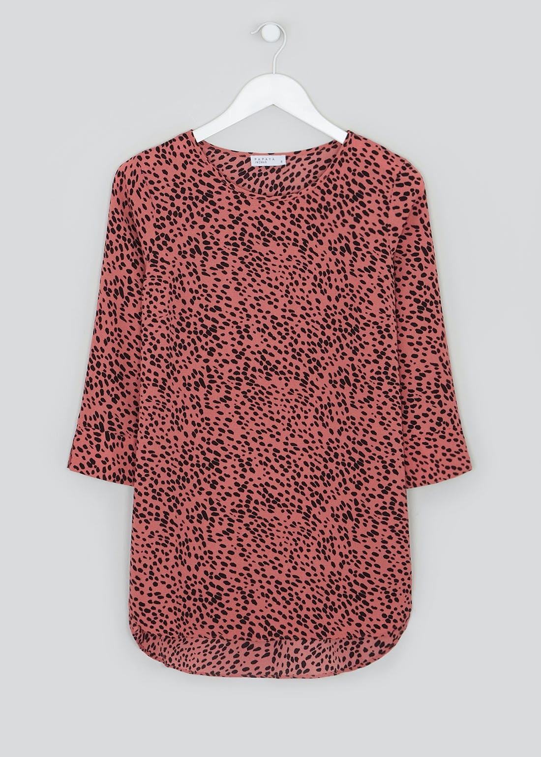 Pink 3/4 Sleeve Abstract Spot Blouse