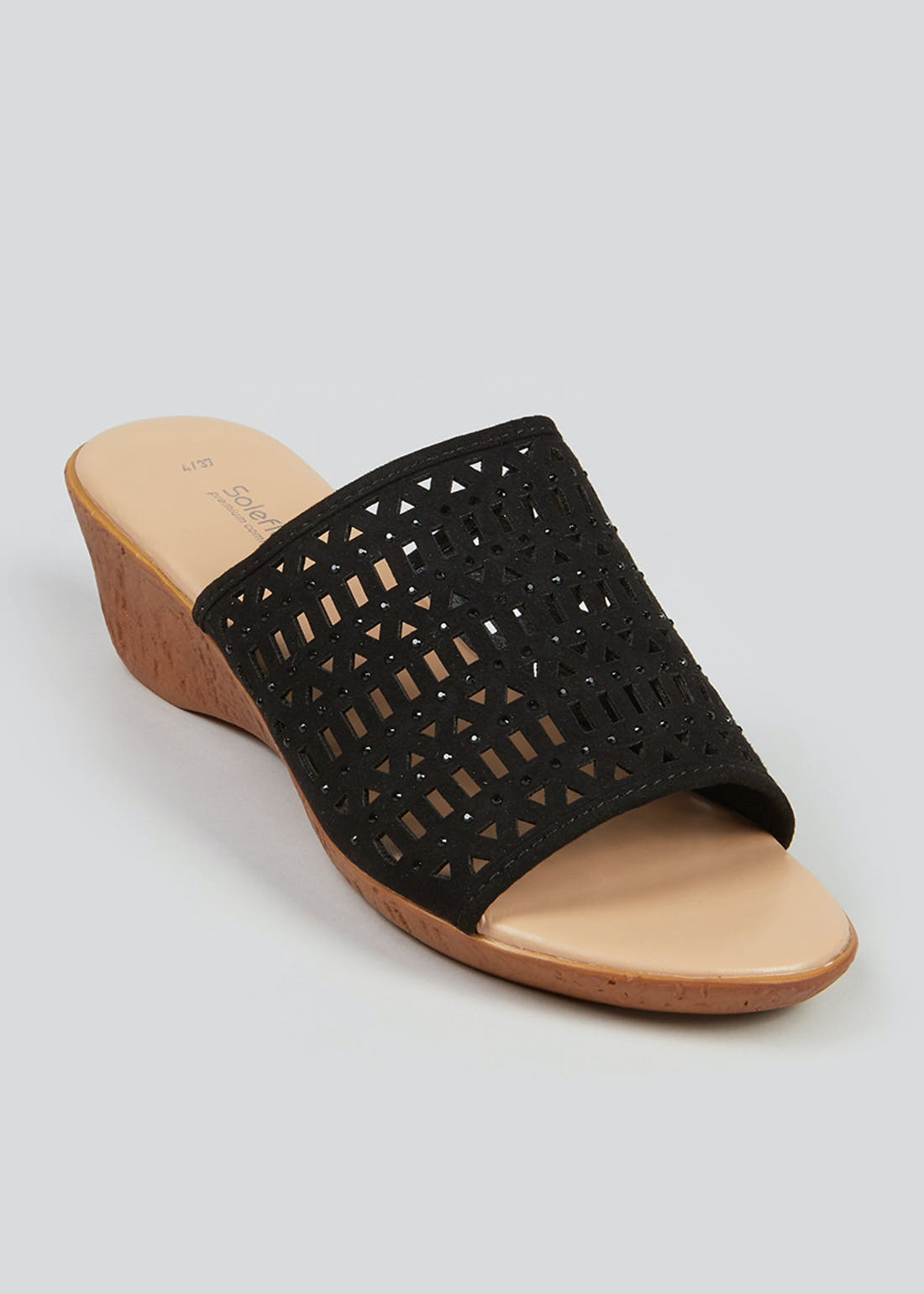 Soleflex Black Laser Cut Wedge Heels