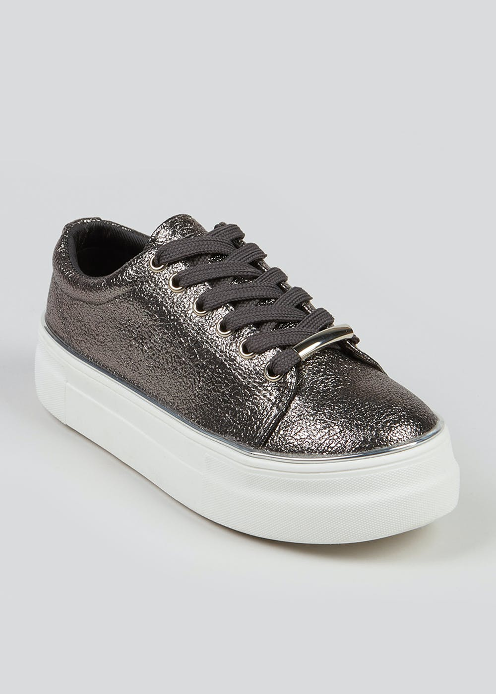 Girls Pewter Lace Up Trainers (Younger 10-Older 5) – Silver