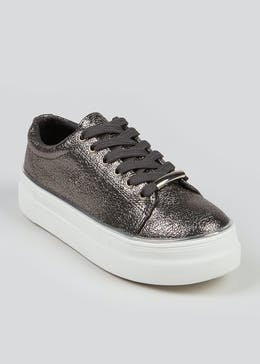 Girls Pewter Lace Up Trainers (Younger 10-Older 5)