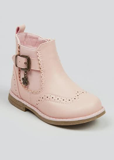 Girls Pink Chelsea Boots (Younger 4-12)