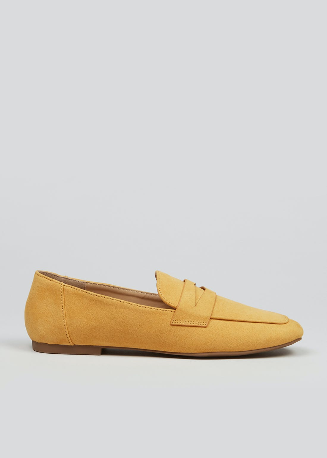 Wide Fit Mustard Suedette Loafers