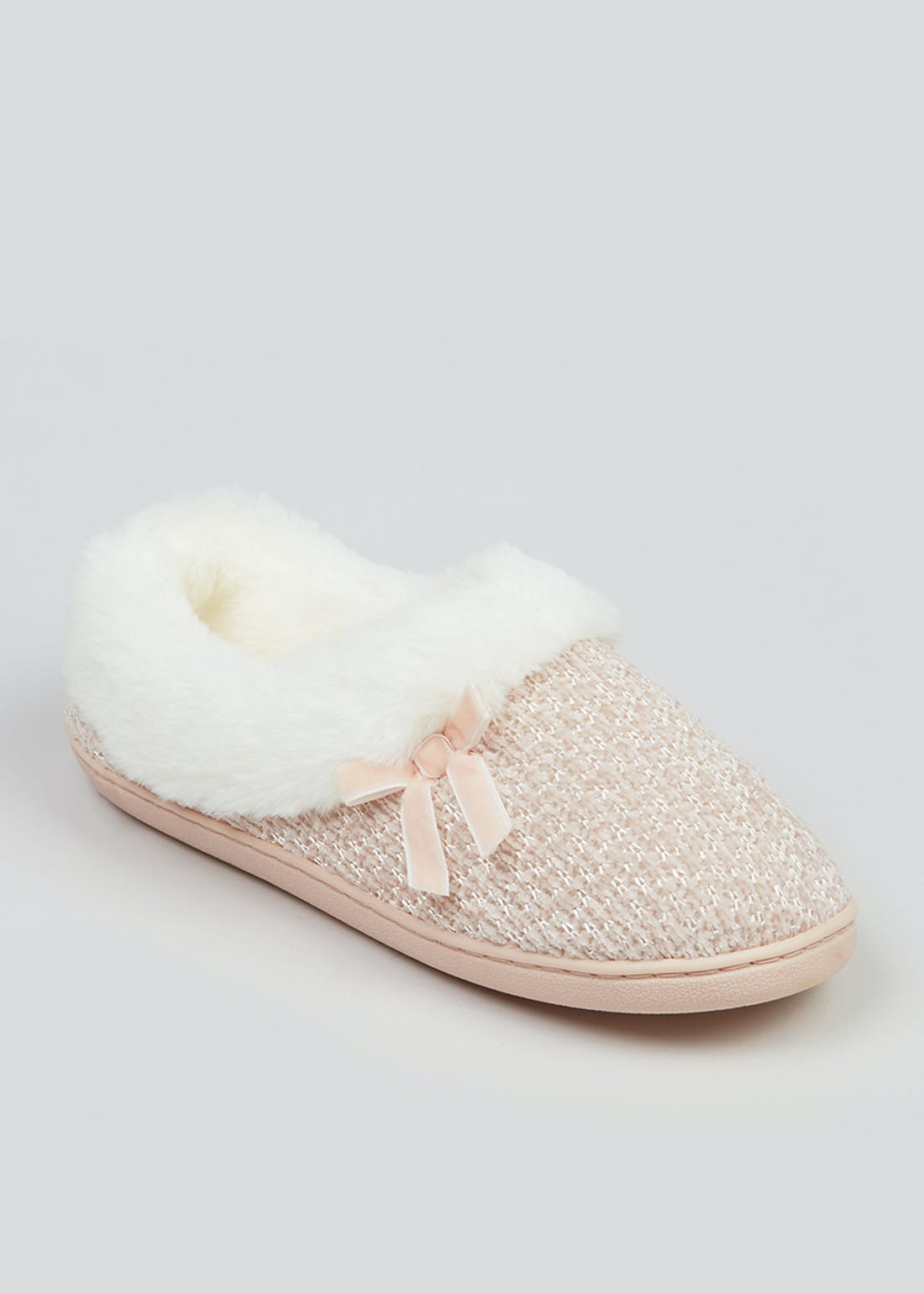 Knitted Fur Lined Full Slippers